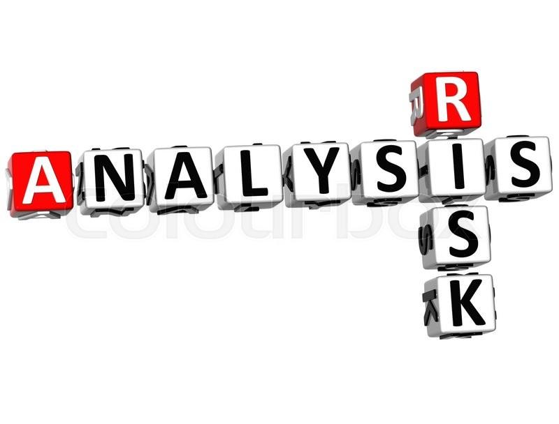 3D Risk Analysis Crossword On White Background Stock
