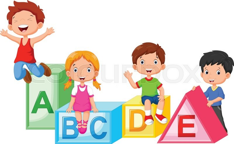 vector illustration of happy school children playing with alphabet blocks stock vector colourbox - Images Of Children Playing At School