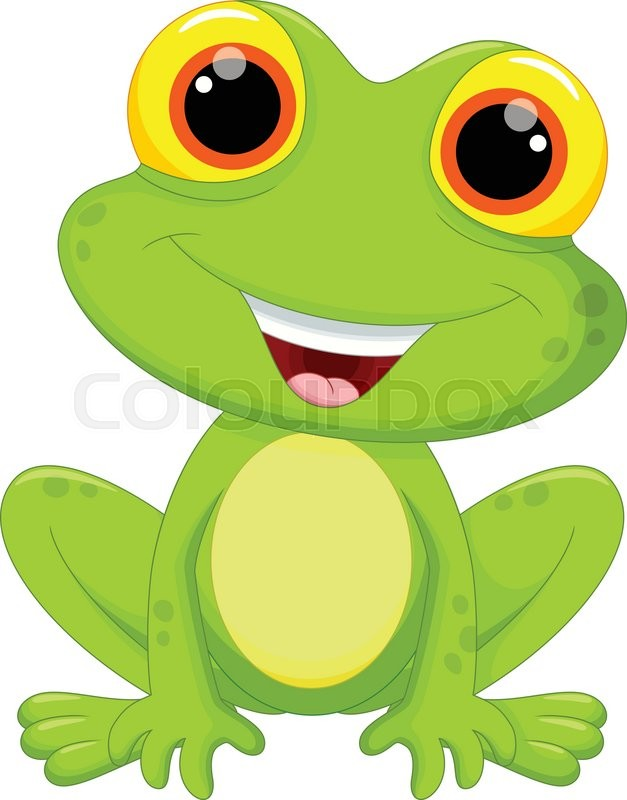 vector illustration of cute frog cartoon isolated on white rh colourbox com Leaping Frog Clip Art Turtle Vector