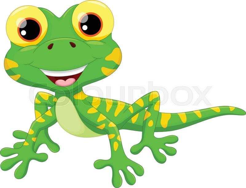 Vector illustration of Cute lizard cartoon isolated on ...