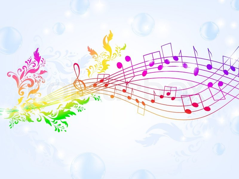 Musical Fantasy Theme With Bright Rainbow Notes And Air