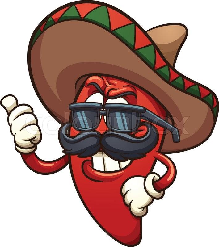 Cool Mexican chili pepper. Vector clip art illustration ...