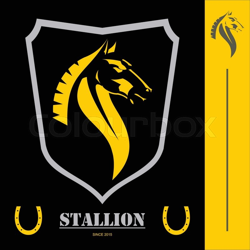Symbols For Strength And Dignity: Elegant Horse Head.combine With Shield Icon And Horseshoe