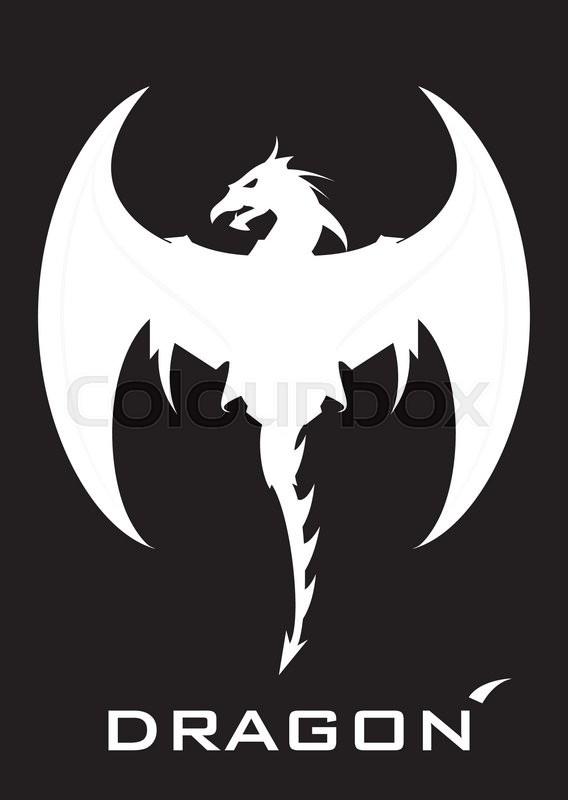 dragon white dragon on the black background stock