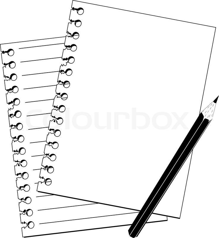 Arbeitsblatt Clipart : Bleistift und notizbuch in schwarz weiß stock vektor