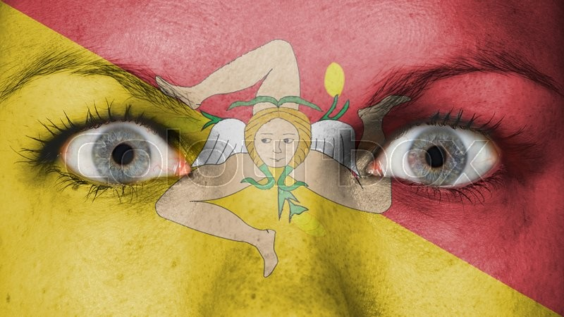 Women eye, close-up, eyes wide open, flag of Sicily, stock photo