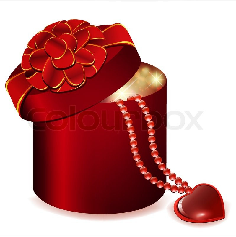 Valentine`s day theme with gift box and heart jewelry | Vector ...