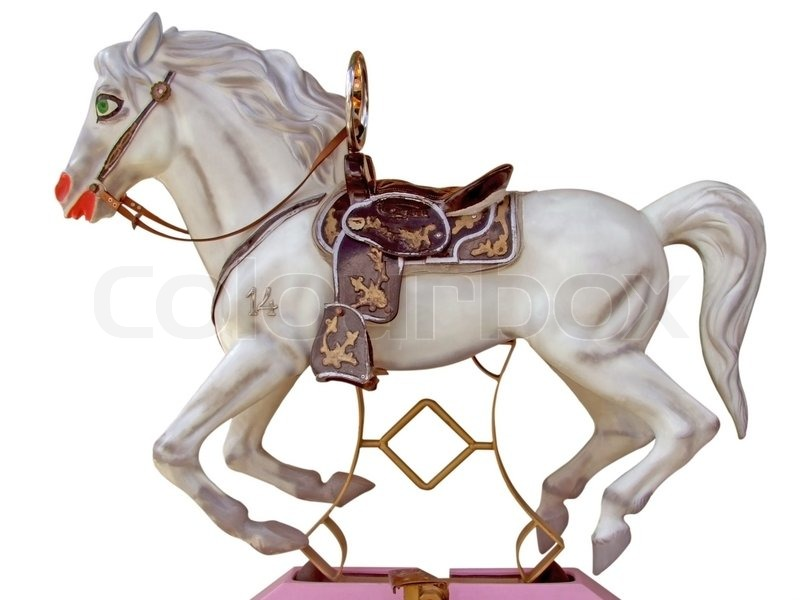 White merry go round horse isolated on white background for Merry go round horse template
