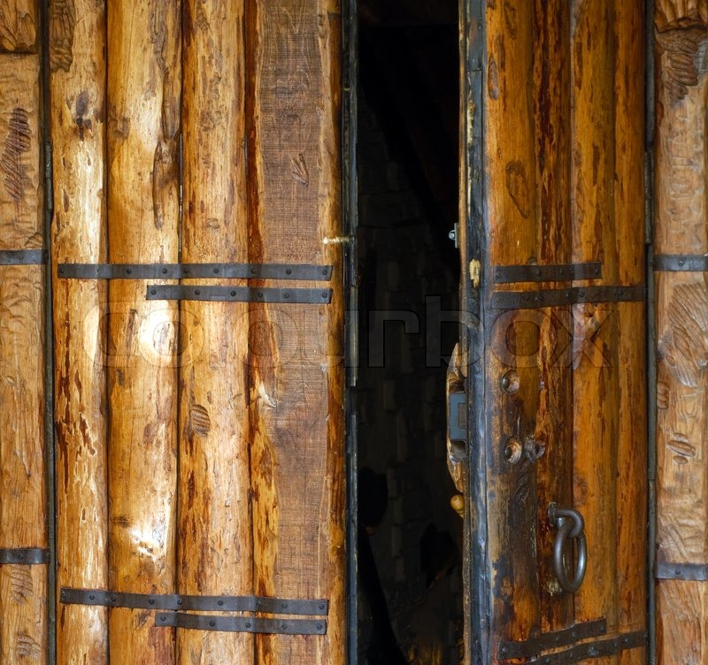 Old Church Opened Entrance With Wood Door And Lock Stock