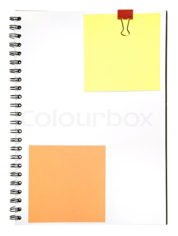 Blank Notepad With Memo And Clip Isolated On White Background