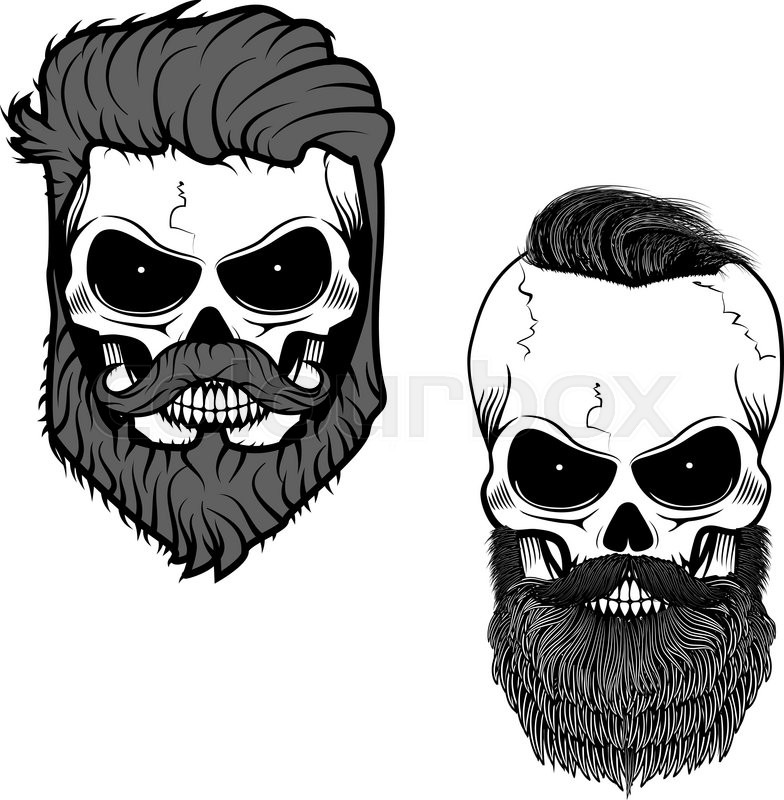 Bearded Skull Sugar With Beard Day Of Death Vector Illustration