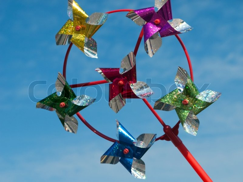 Multi colored wind propeller toy spinning objects | Stock Photo ...