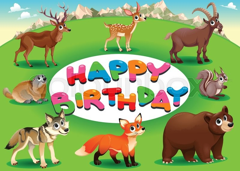 Happy Birthday Card With Mountain And Wood Animals Vector Cartoon