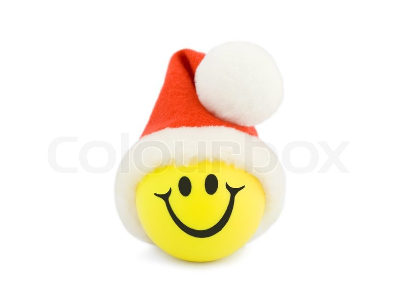 weihnachten smiling tennis ball in christmas hat. Black Bedroom Furniture Sets. Home Design Ideas