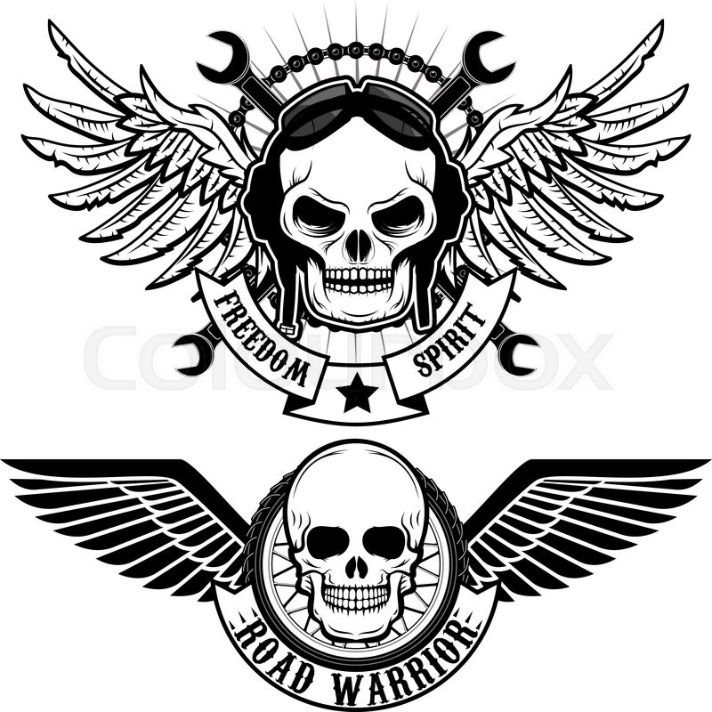 Biker Theme Labels Skulls With Wings Stock Vector Colourbox