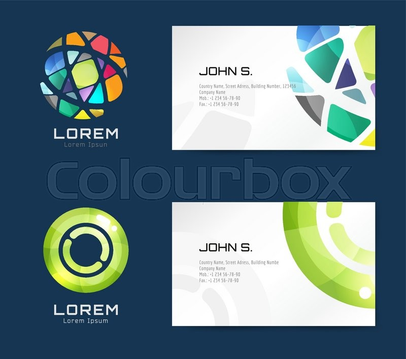 Vector business card template set globe and ring logo icons abstract geometric low poly design and creative identity cards plank paper print business card design globe logo circle ring logo stock reheart Choice Image