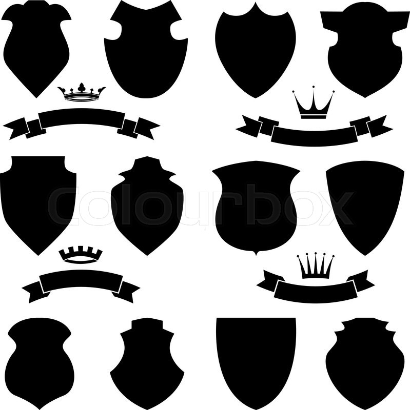 shields crowns and stylish ribbon set isolated on white background rh colourbox com vector shields free vector shield mounting media