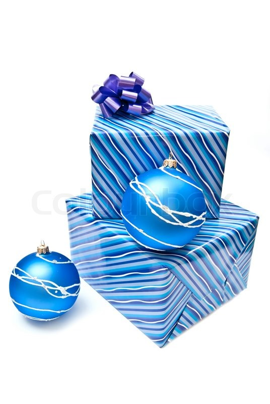 Blue Christmas Balls And Presents Isolated On White