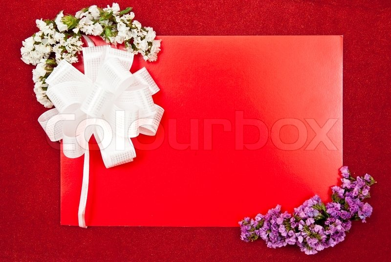 Greeting card with bow and flowers on red background stock photo greeting card with bow and flowers on red background stock photo colourbox m4hsunfo