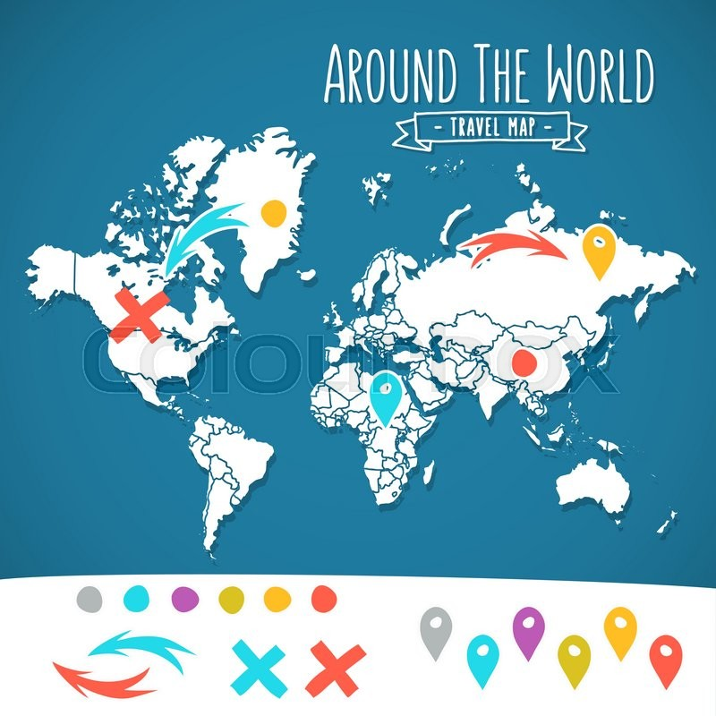 Hand drawn world map with pins and arrows vector design cartoon hand drawn world map with pins and arrows vector design cartoon style atlas illustration travel around the world poster vector gumiabroncs Images