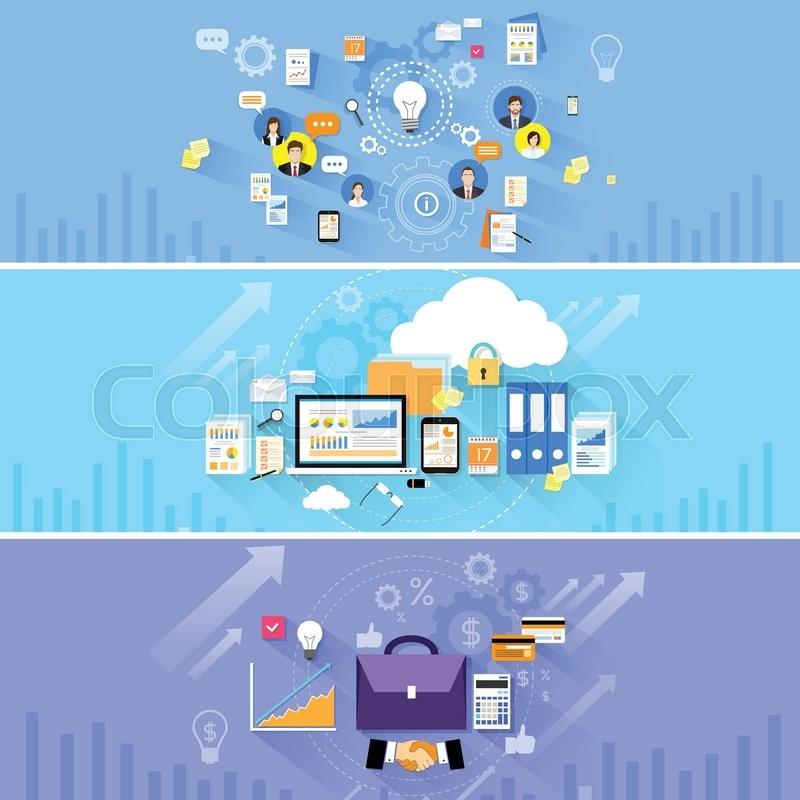 Briefcase Handshake Computer Cloud Storage Social Media Communication  People Banner Set Flat Vector Illustration | Stock Vector | Colourbox