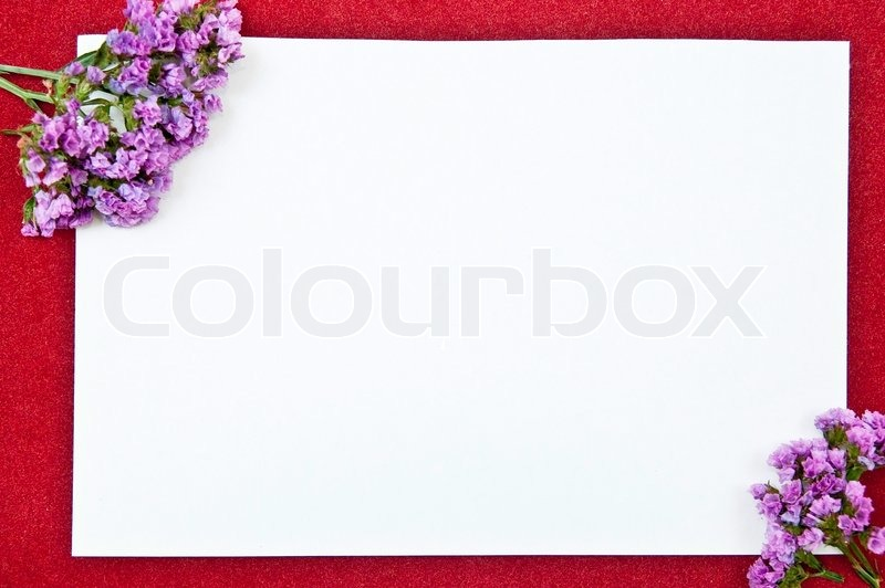 White paper blank on red with flowers design | Stock Photo ...