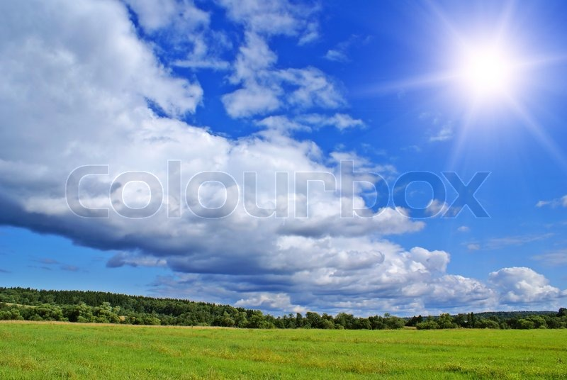 Summer landscape with cloudy sky green grass and trees stock photo colourbox - Impressive house with tranquil environment to get total relaxation ...