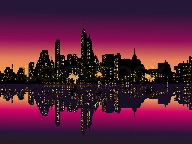 Mirror Purple Night City Palms Vector Illustration