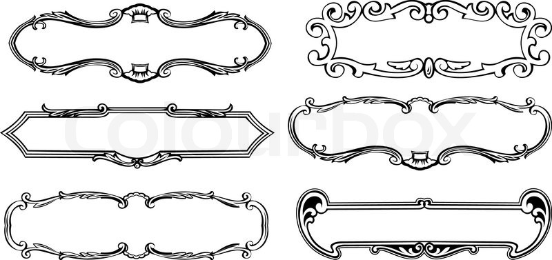 Black Frame Glasses Vector : Set Of Six Ancient Ornate Black Frames Stock Vector ...