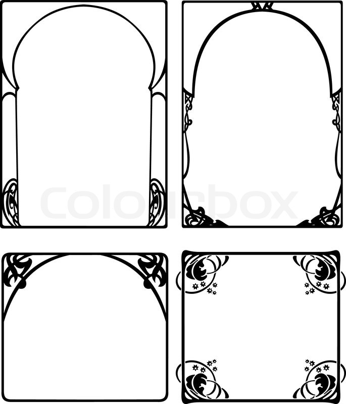 Set Of Four One Color Baroque Black Frames | Stock Vector | Colourbox