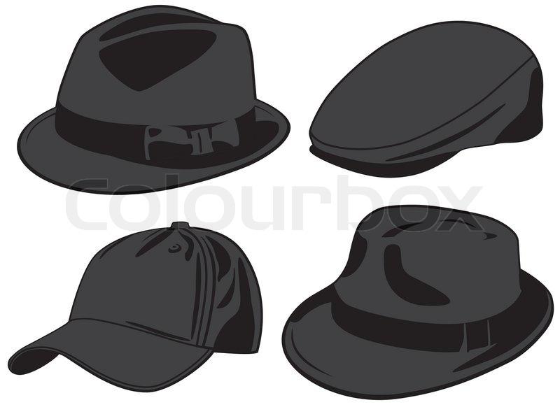 2913efe8e4270 Set of the caps. Vector illustration