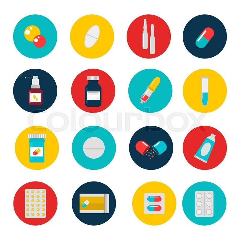 pills capsules icons vector flat set medical vitamin pharmacy rh colourbox com vector pillows medical pills vector