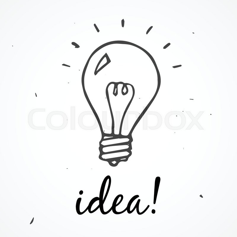 Set Of Hand Drawn Light Bulbs Symbol Of Ideas Stock: Vector Doodle Light Bulb. Idea Hand Drawn