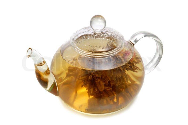Glass teapot with blooming flower green tea on white background glass teapot with blooming flower green tea on white background stock photo colourbox mightylinksfo