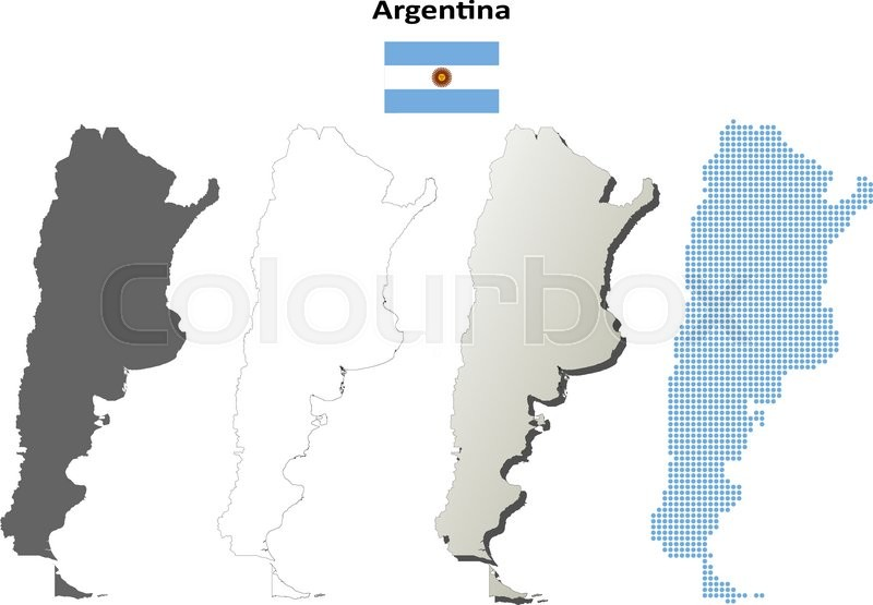 Argentina Outline Map Set Stock Vector Colourbox - Argentina map outline