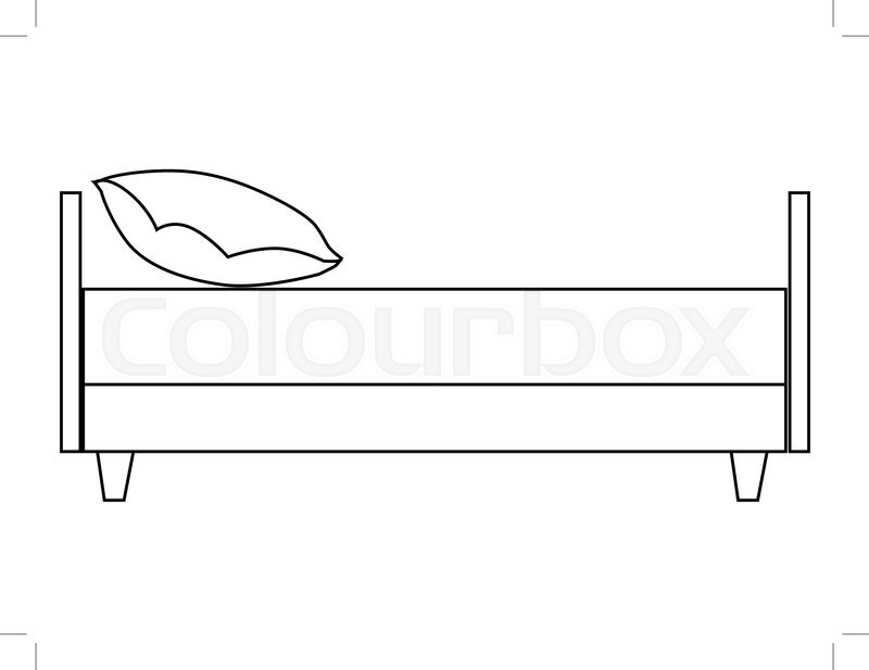 Outline illustration of bed side view Stock Vector Colourbox