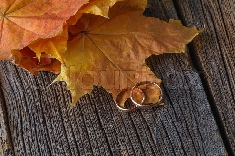 Fall wedding decoration on rustic wood, stock photo