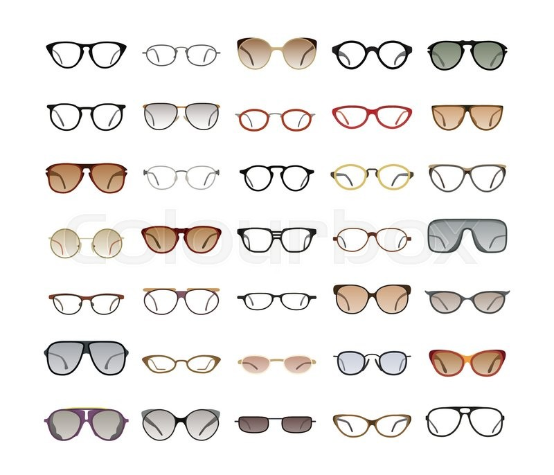 Vector collection of Eyeglasses and Sunglasses with different frames ...