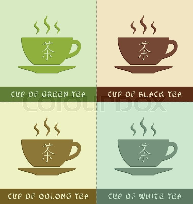 Cups Of Different Types Of Teas With Chinese Symbol That Means Word