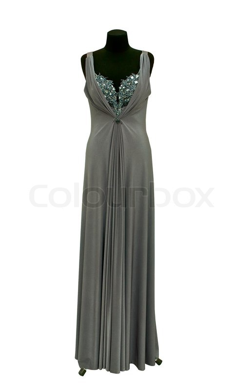 Evening Gown On A Mannequin On A White Stock Photo