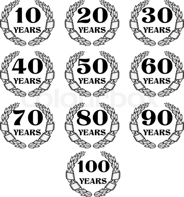 10-100 anniversary laurel wreath. Celebration and congratulation ...