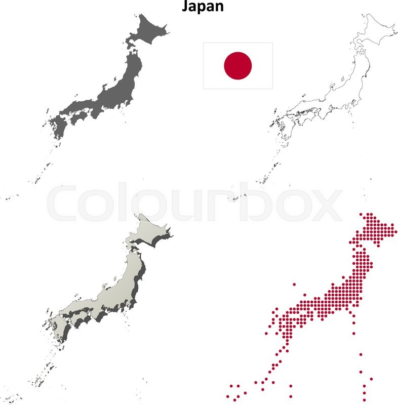 Map Of Japan 1600.Japan Blank Detailed Outline Map Set Stock Vector Colourbox