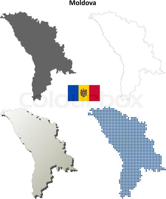 Moldova Outline Map Set Stock Vector Colourbox - Moldova map outline