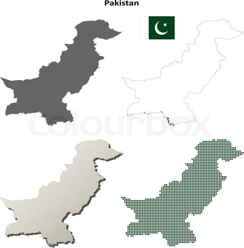 Pakistan outline map set | Stock vector | Colourbox