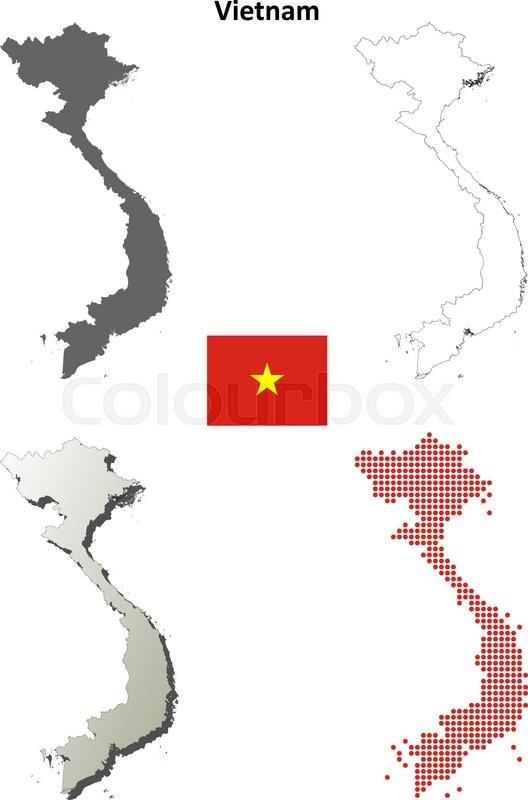 Vietnam blank detailed vector outline     | Stock vector
