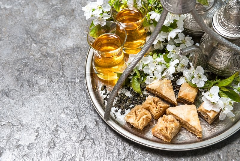 Download Arabic Eid Al-Fitr Food - 16006601-tea-glasses-and-pot-traditional-sweets-islamic-holidays-eid-al-fitr  Pic_95264 .jpg