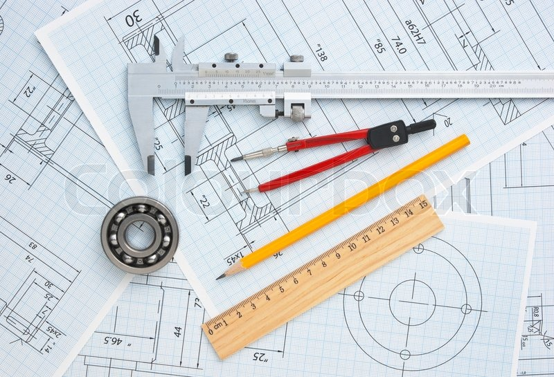 technical drawing and tools stock photo colourbox
