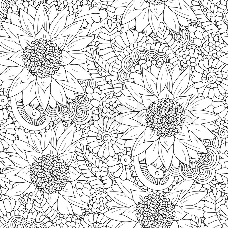 Doodle Seamless Pattern With Sunflowers Hand Drawing Floral Indian Background In Vector Ayurveda Collection