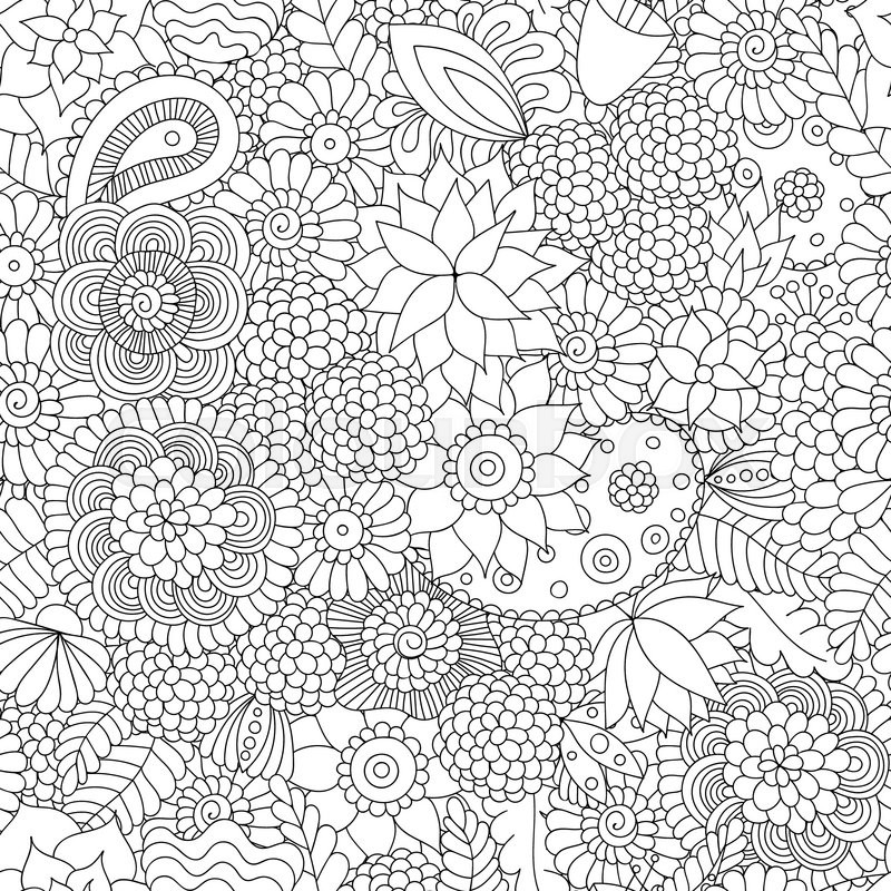 Doodle Flower Pattern Black And White Vector Seamless