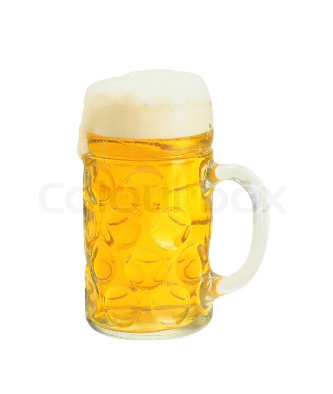 Frisches Bier In Ein Glas Isoliert Auf Wei 223 Em Hintergrund